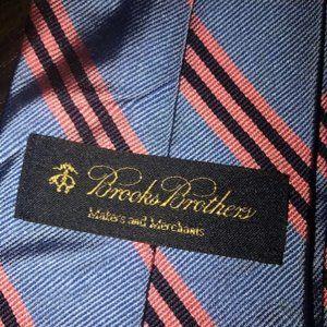 Brooks Brothers Blue Pink Stripe Silk Necktie